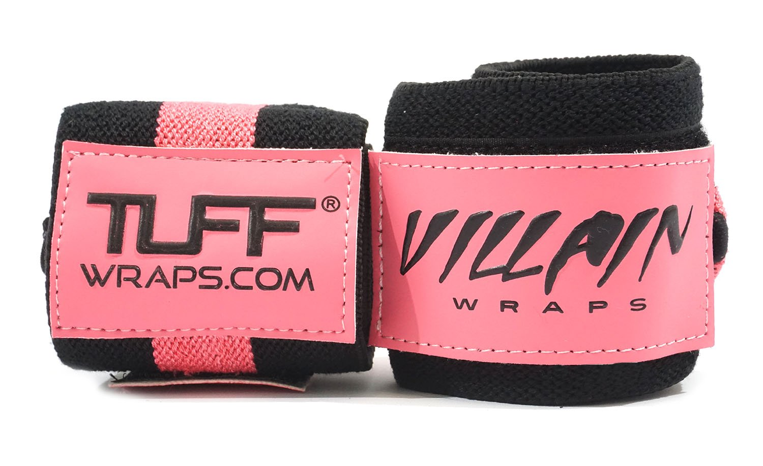 Tuffwraps: 16'' Villain Wrist Wraps for Crossfit, Olympic Weightlifting, Power Lifting. Innovative Thumb Loop for Easy Application. (Pink/Black)