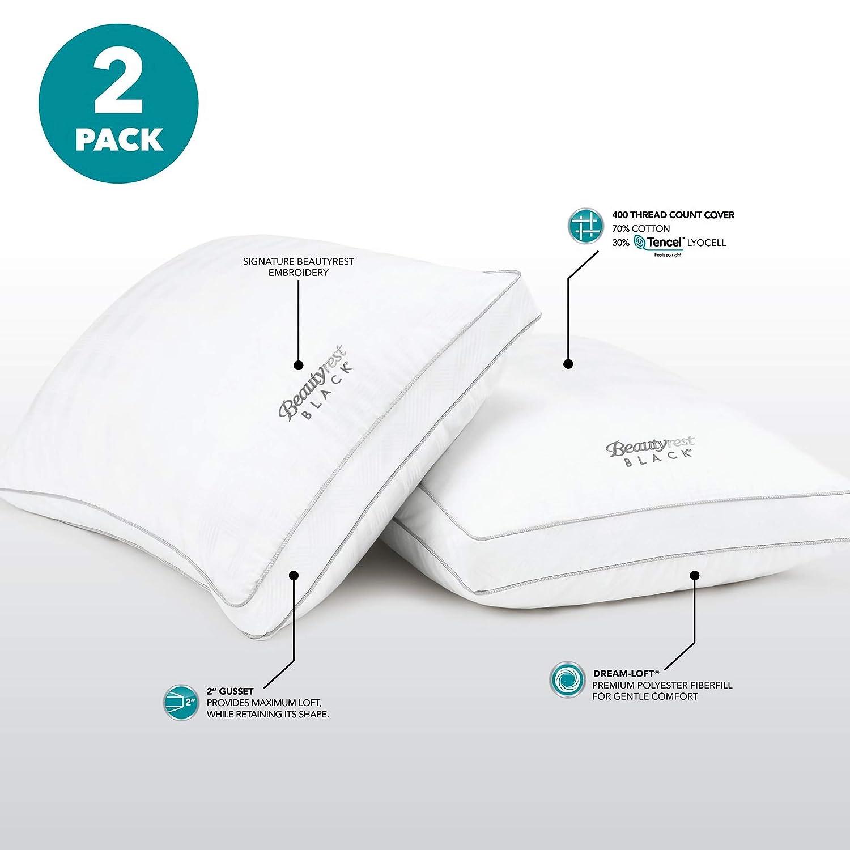 Beautyrest Black Pillows, 2-Pack Standard Queen