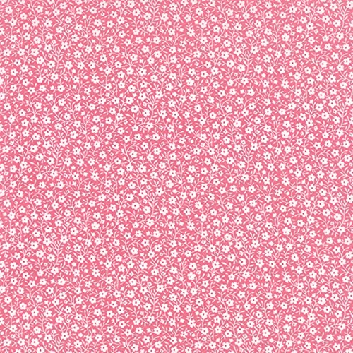 Tiny White Flowers All Over on Strawberry Pink, Sew and Sew, Chloe's Closet, Moda, By the Yard by Sew amd Sew
