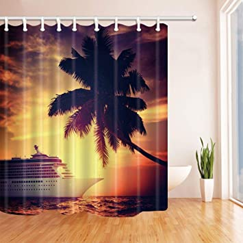 Cdhbh Segelboot Maritimes Dekor Schiff Unter Die Kokos Baum Bei  Sonnenuntergang Duschvorhang Polyester 180