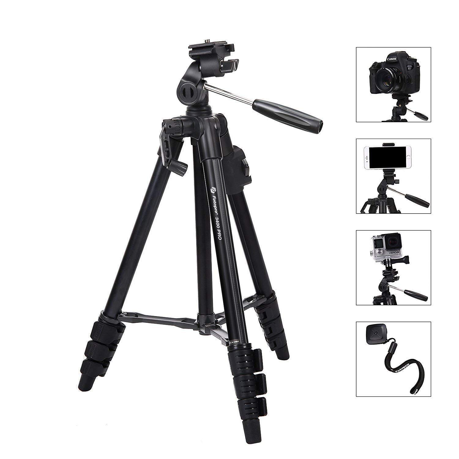 Camera Tripod, Lightweight Flexible Tripod, Fotopro 48' Tripod with Wireless Remote for DSLR Cameras, Smartphones and Gopro, Quick Release Plate, Tripod Bag for Camera, Smartphone and Gopro,Black Fotopro 48 Tripod with Wireless Remote for DSLR Cameras