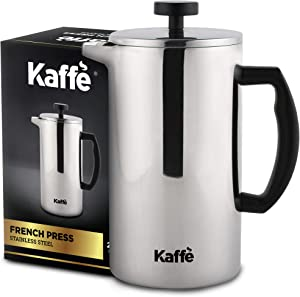 Kaffe French Press Coffee Maker. Food-Grade Double-Wall Stainless Steel (6 Cups 0.8L). Extra Filter Included!