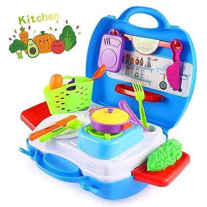 Amazon Com Vandora Play Set For Kids Kitchen Food Playset Toy