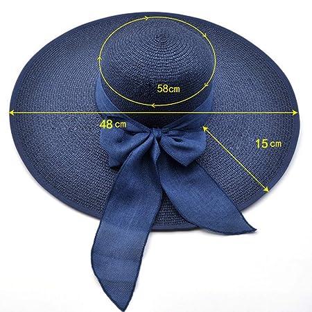 Amazon.com: FLAMINGO_STORE Summer Large Brim Straw Hat Floppy Wide Brim Sun Cap Bowknot Beach Foldable Hats: Home & Kitchen