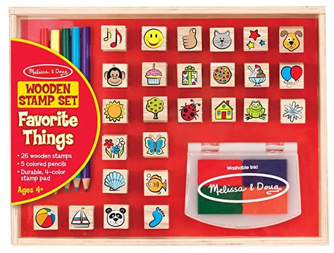 Melissa & Doug Wooden Stamp Set, Favorite Things, 26 Wooden Stamps, 4-Color Stamp Pad $14.99