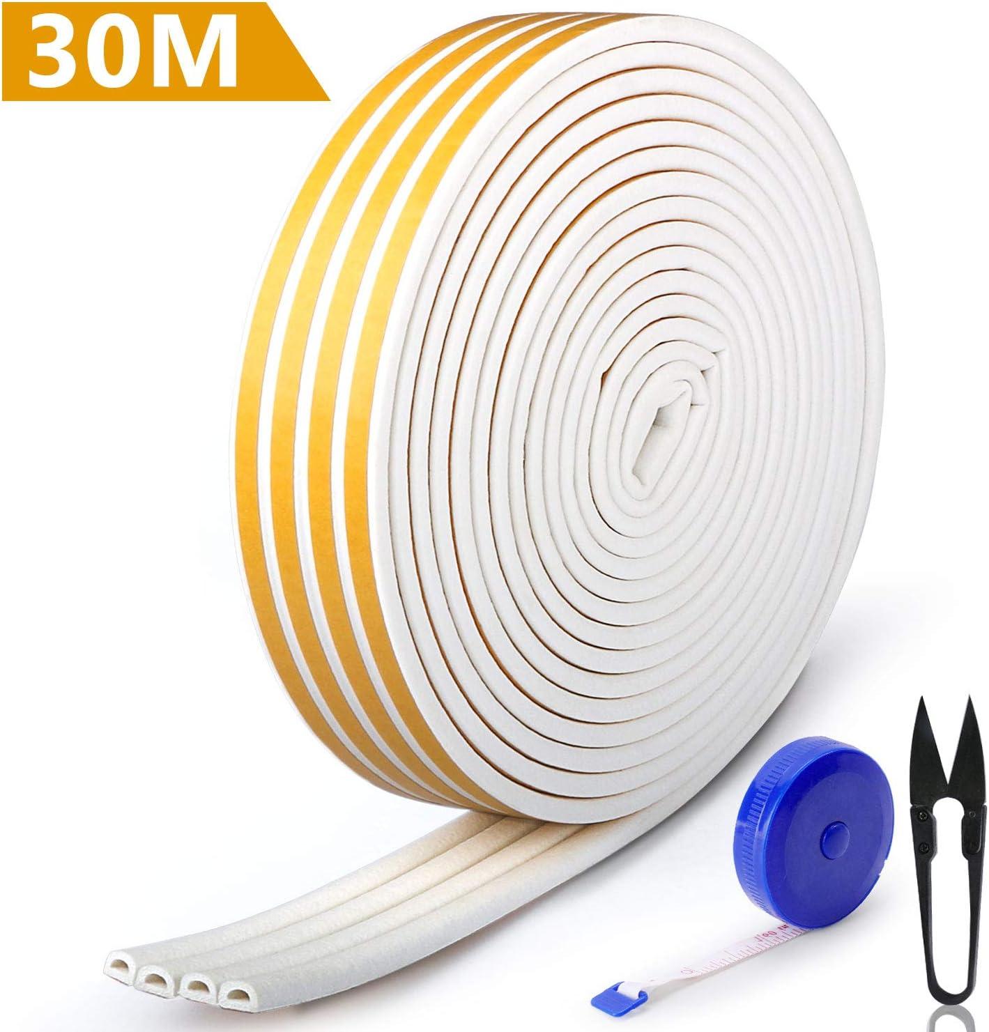 RATEL Tira de Sellado Junta de 30 m(4 x 7.5 m), Goma burlete para Puerta Ventana Antigolpes Resistente al Agua Autoadhesiva con 1 tijera y 1 cinta métrica para bloquear grietas y huecos (blanco)