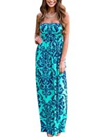 Leadingstar Women Strapless Maxi Vintage Floral Print Graceful Party Long Dress