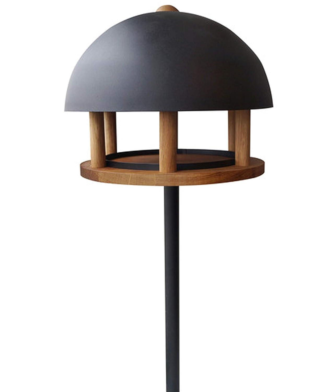 Dehner Natura Wildvogel-Futterhaus Cremona mit Erdspieß, Ø 35 cm, Höhe 163 cm, Metall/Holz, schwarz/braun Ø 35 cm Höhe 163 cm 4154746