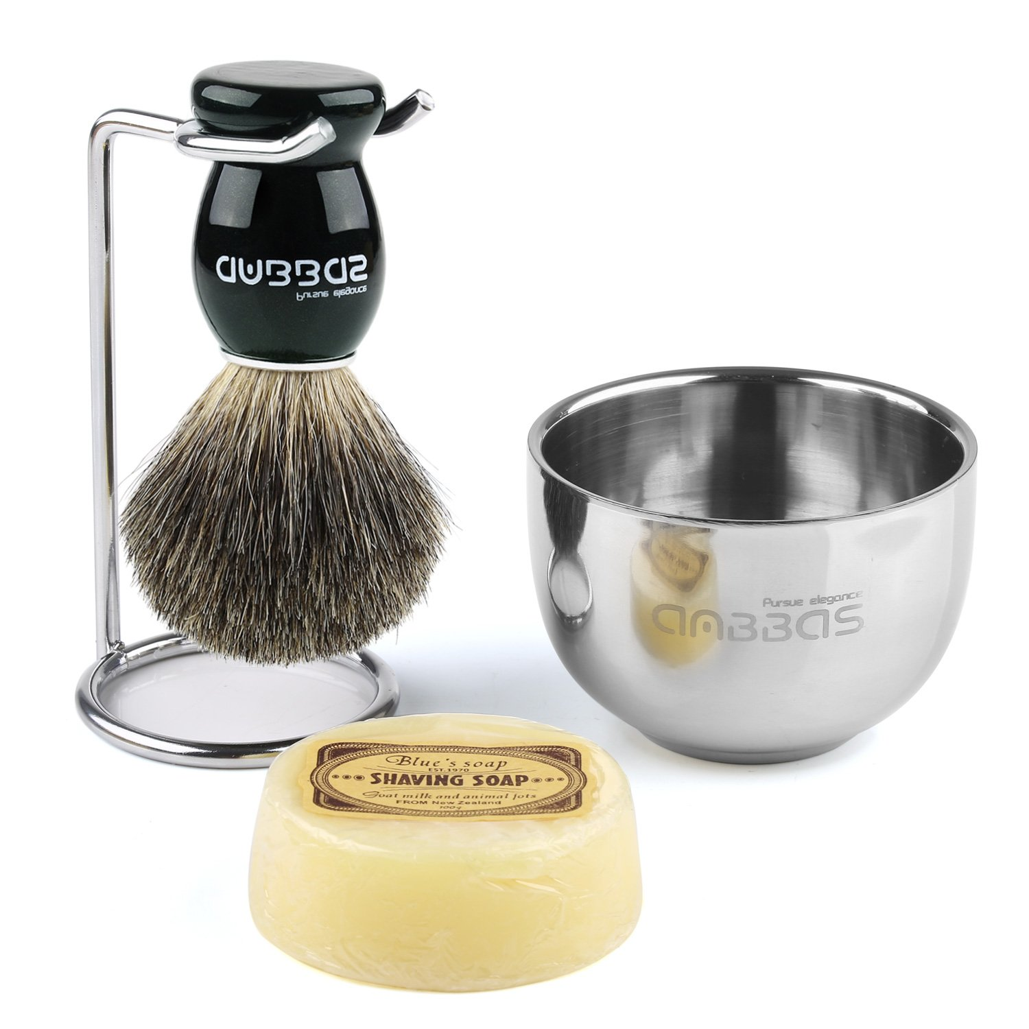 Shaving Set, 4in1 Anbbas Men Fine Badger Bristle Shave Brush Black Wood Handle,Stainless Steel Shaving Stand and Soap Cup with Shaving Soap Bar Natural & Organic for Perfect Wet Shaving