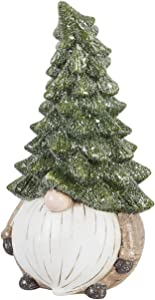 Evergreen Garden Shimmering Oversized Christmas Tree Hat and Santa Beard Holiday Gnome Statue - 11 x 6 x 6 Inches Fade and Weather Resistant Outdoor Statuary for Homes, Yards, and Gardens