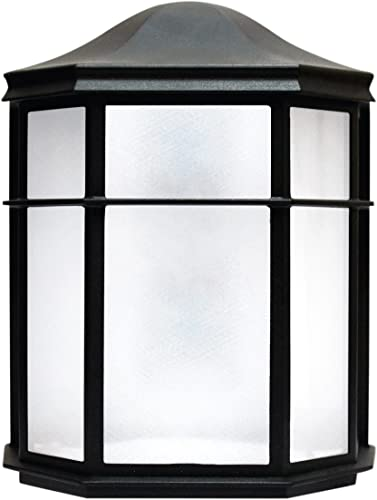 LED Outdoor Wall Sconce, Frosted Glass, 9 Watt 60W Equivalent 120V, 500 Lumens, Soft White 3000K, Waterproof, Rust Resistant, RoHS Compliant, ETL Listed, Energy Star