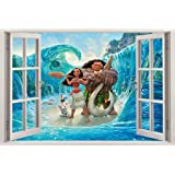 Moana 3D Window Decal Wall Sticker Home Decor Art Mural Disney Princess H711, Large