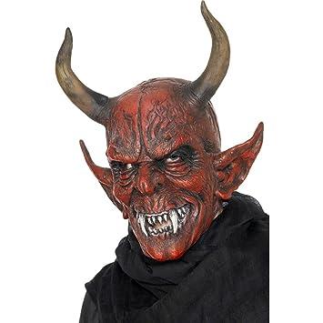 Careta látex demonio Máscara diablo Máscara integral Halloween Complemento disfraz bestia Antifaz satán Accesorio halloween Luzifer