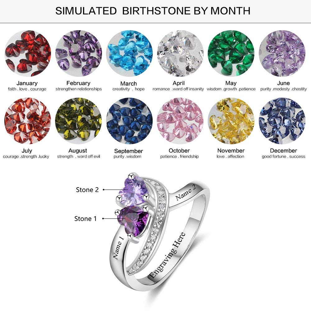 Alicia-E Personalized Sterling Silver Promise Rings for Her with 2 Simulate Birthstones Mothers Ring for Women Couples Name Rings for Couple