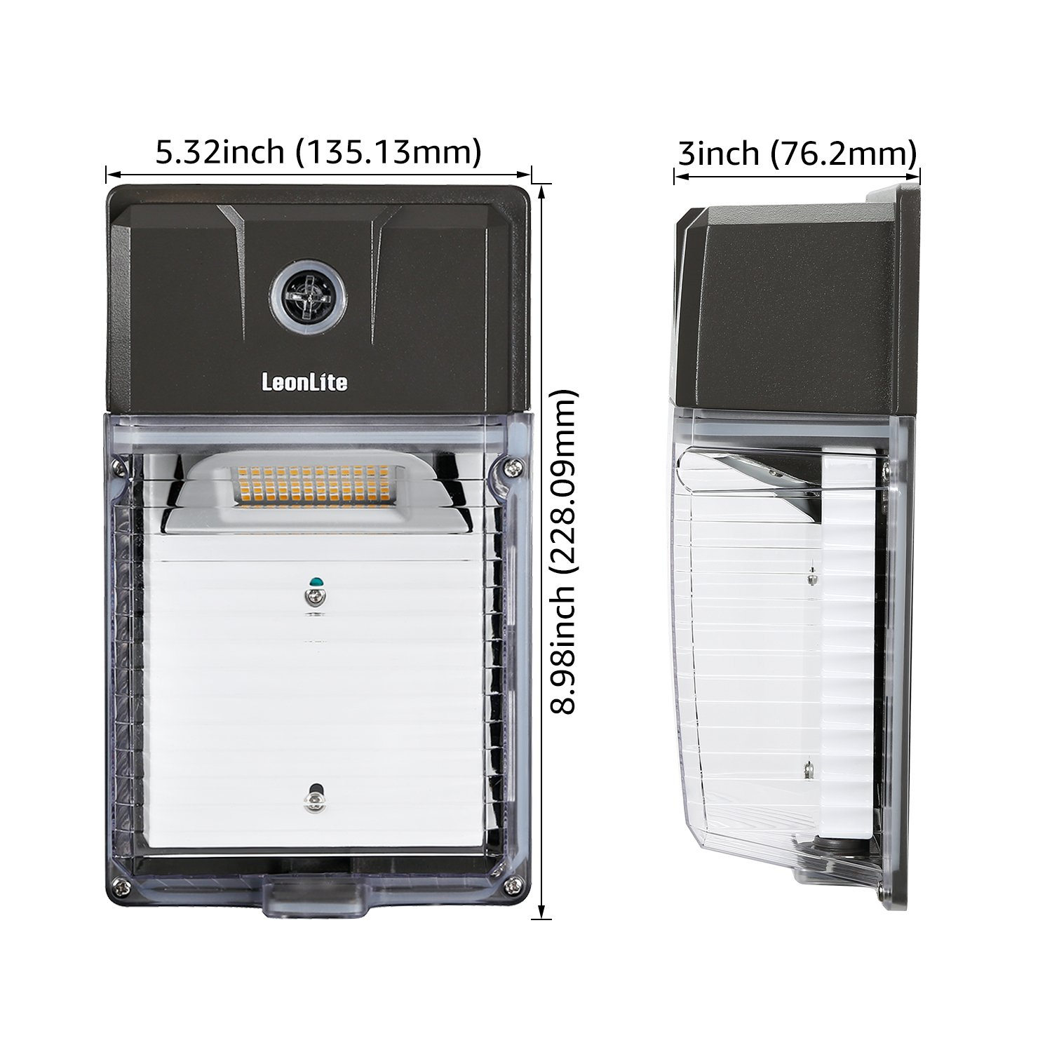 330W Equiv Pack of 2 LEONLITE 30W Dusk to Dawn LED Wall Pack UL /& DLC Premium Certified Outdoor Mini Wall Light with Photocell 5 Years Warranty 5000K Daylight 3300lm