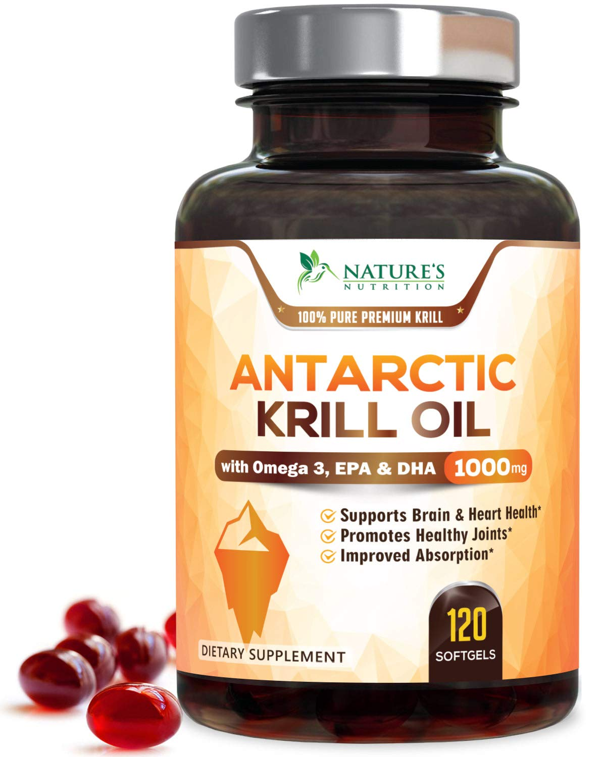 Krill Oil 1000mg Max Potency Antarctic Krill Supplement with Omega 3, EPA, DHA and Astaxanthin - Supports Heart, Brain & Joint Health - No Fishy Aftertaste, by Nature's Nutrition - 120 Softgels