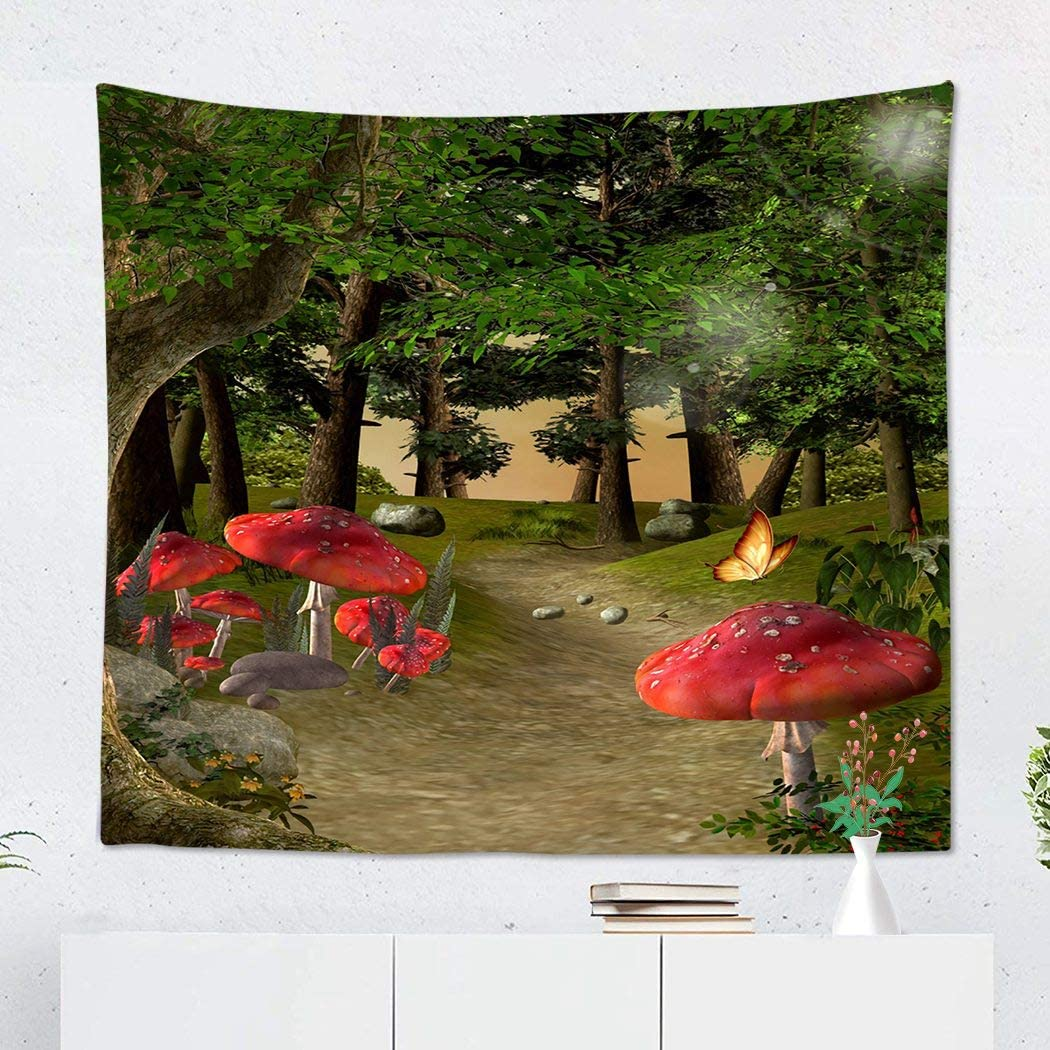 Suklly Tapestry Wall Hanging Polyester Green Lights Footpath in The Middle of Fantasy Forest Home Decor Living Room Bedroom Dorm 50 x 60 inches Picnic Mat Beach Towel