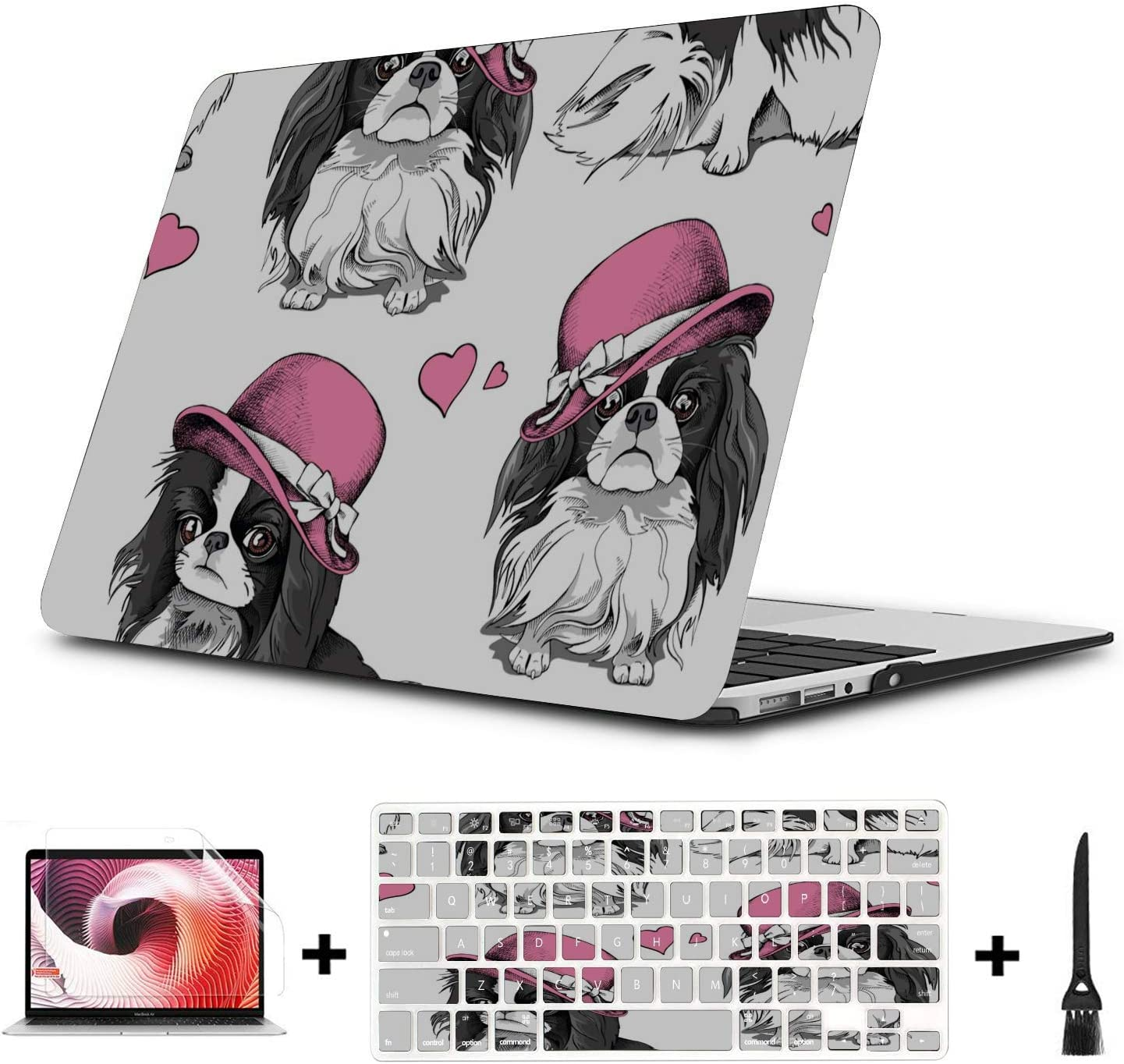 MacBook Pro Shell Cartoon Hat Dog Friendly Pet Plastic Hard Shell Compatible Mac Air 11 Pro 13 15 MacBook Protective Case Protection for MacBook 2016-2019 Version