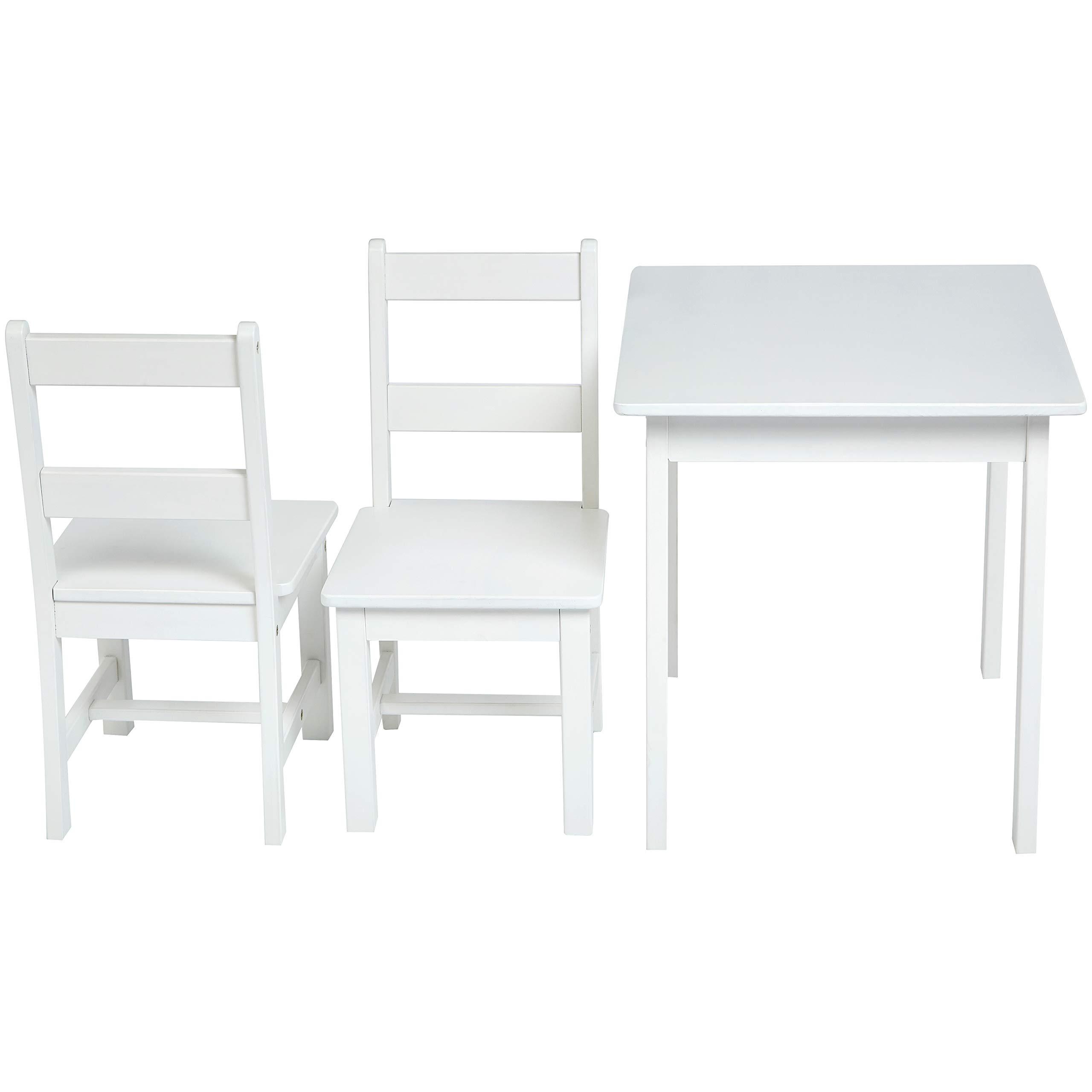 AmazonBasics Kids Solid Wood Table and 2 Chair Set, White by AmazonBasics (Image #4)