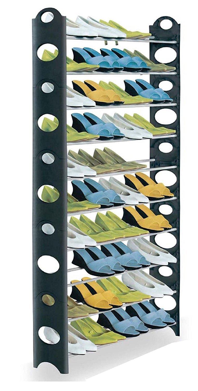 Surehome - Estantería para zapatos, 10 estantes con altura ajustable, capacidad para 50 zapatos, blanco y negro Vinsani Others