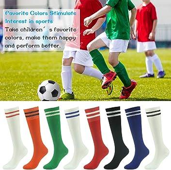 Kids Soccer Socks 5-14 Years Football Club Stretch Socks Strip Knee High Socks