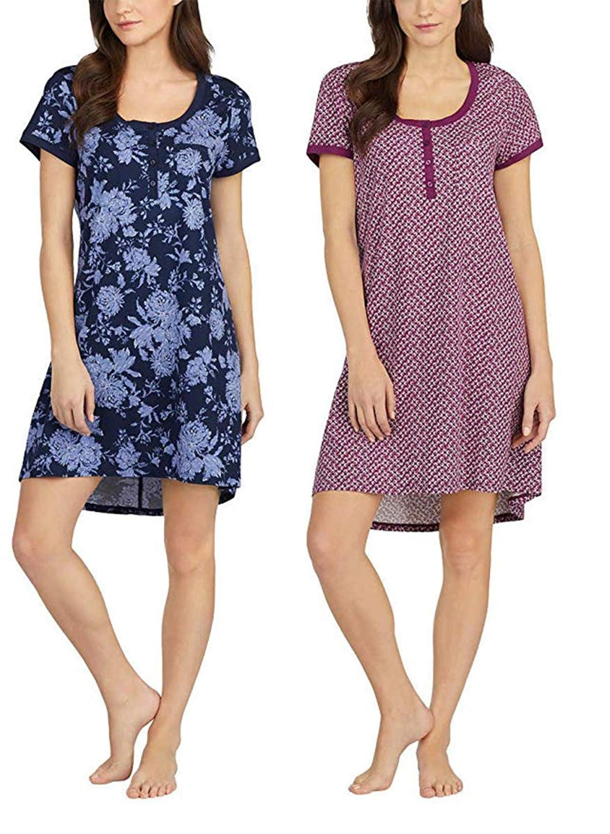 Lucky Brand Ladies' 2 Pack Sleep Shirts (XL, Blue Floral/Purple Coral)