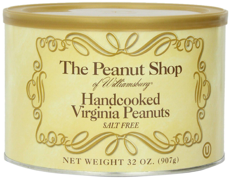 The Peanut Shop of Williamsburg Salt Free Handcooked Virginia Peanuts, 32-Ounce Tin