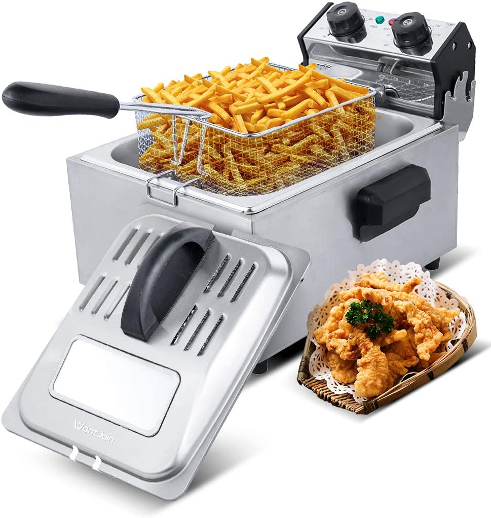 WantJoin Deep Fryer,Professional Grade Electric Deep Fryer,6 Liters Oil Capacity,Frying Basket,Adjustable Temperature and Timer, Lid with View Window, 2800 Watts, Stainless Steel