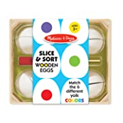 Melissa & Doug Slice & Sort Wooden Eggs (13 pcs) - Play Food Educational Toy in Wooden Tray