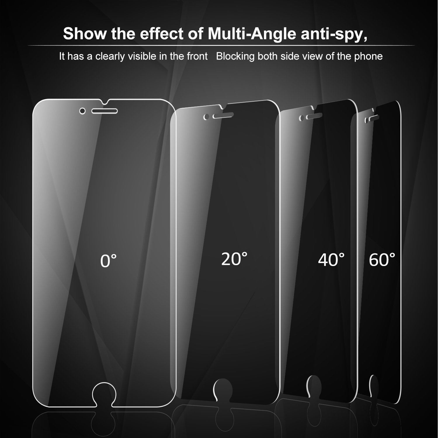 [2-Pack]Eastoan iPhone 8 Plus Tempered Glass Privacy Screen Protector [No bubbles][9H Hardness]For Apple iPhone 8 Plus and iphone 7 Plus Privacy by Eastoan (Image #5)