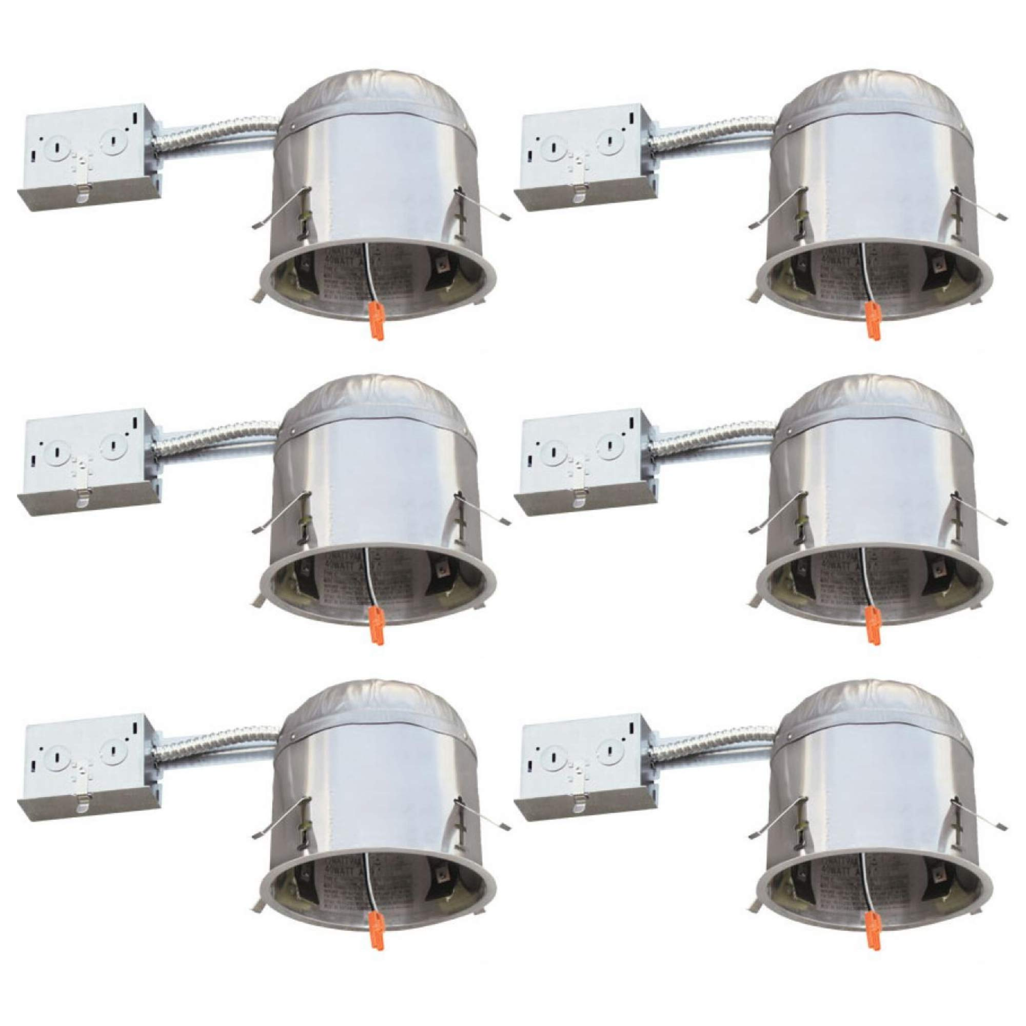 Four-Bros Lighting RM5/LED Remodel Housing 6 Pack-5'' LED Recessed Can Light Airtight 75 Max Wattage,IC Rated and Tile 24 Certified, 5 Inch