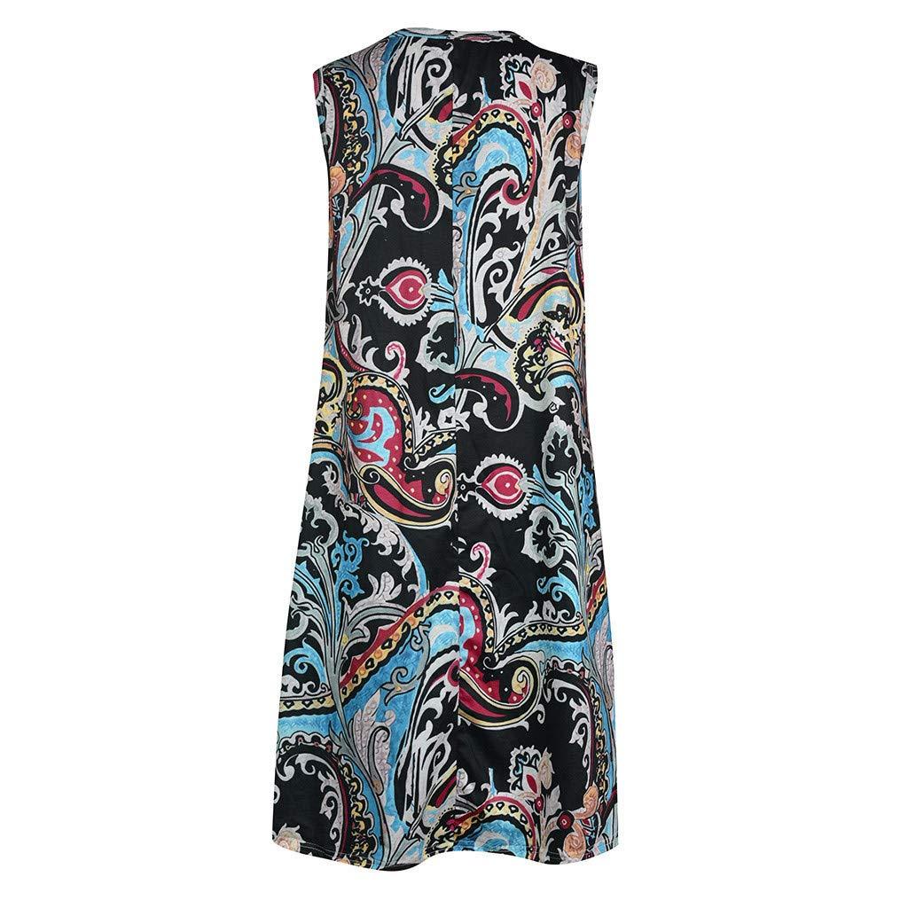 Tshirt Print Pockets Dresses for Women Summer Loose Beach Boho Sleeveless Floral Sundress Swing Casual Loose Cover Up (XL, Black) by Moxiu (Image #4)