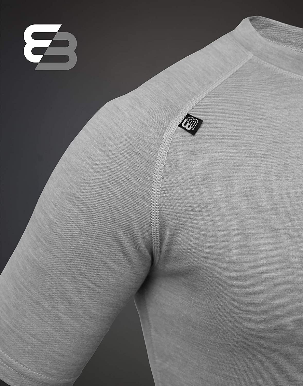 strapazierf/ähig T-Shirt flache N/ähte Extreme Essentials Merinowolle Klettern Hellgrau-meliert ideal zum Wandern leicht kurz/ärmelig Unterhemd antibakteriell schnelltrocknend Radfahren Gr L