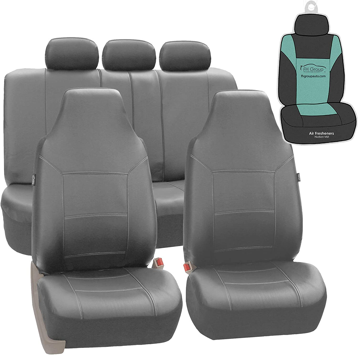 FH Group PU103115 Royal Leather Seat Covers (Gray) Full Set with Gift - Universal Fit for Cars, Trucks & SUVs