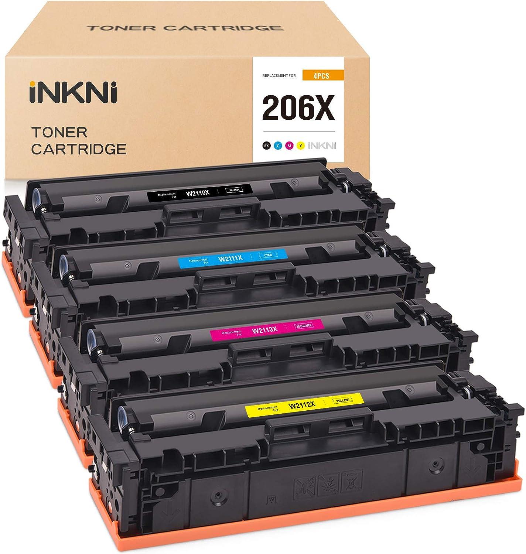 INKNI Compatible Toner Cartridge Replacement for HP 206X 206 W2110X W2111X W2112X W2113X for Color Laserjet Pro M255dw Laserjet MFP M283fdw M282nw M283cdw NO CHIP (Black,Cyan,Magenta,Yellow,4-Pack)