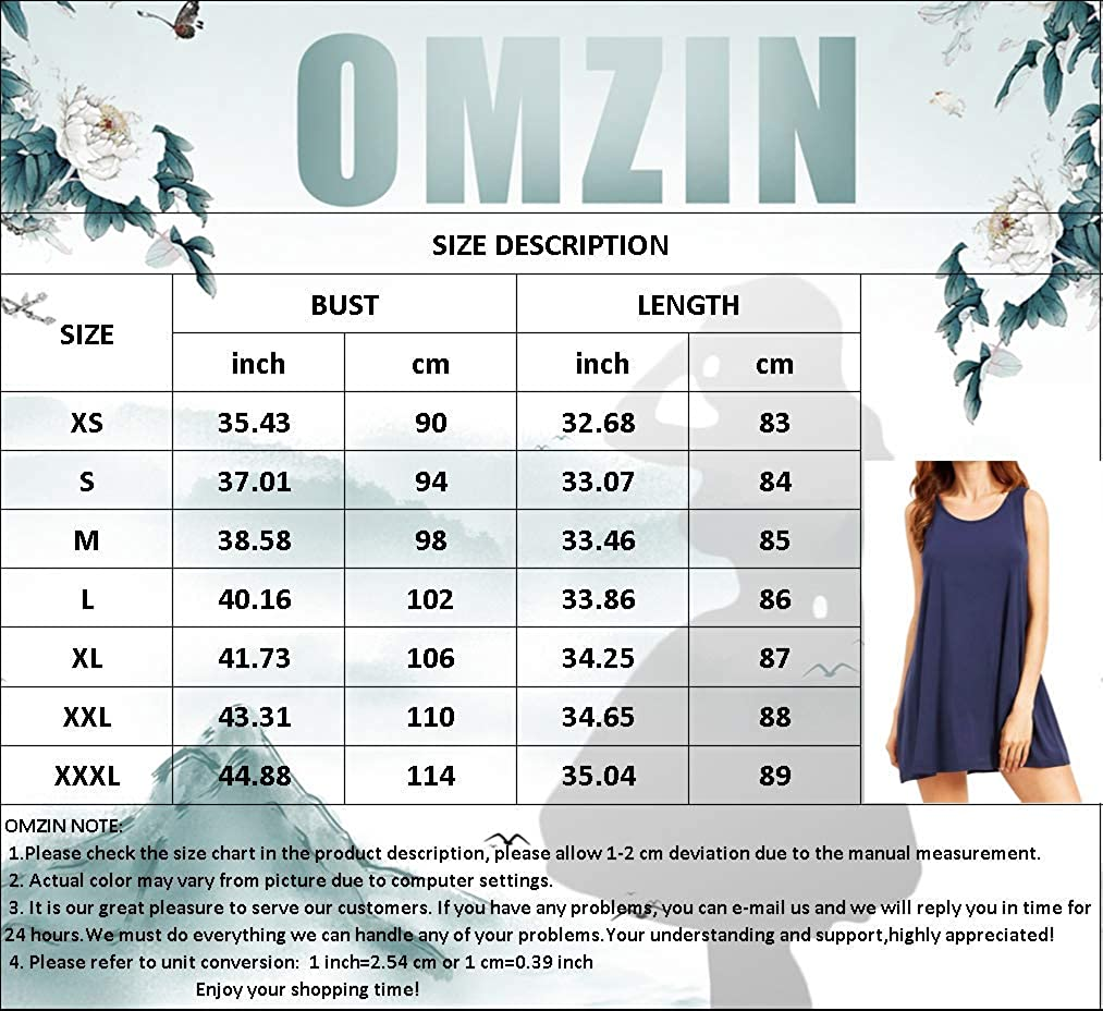 OMZIN Damen Tunikakleid Baumwolle Basic Sommerkleid Swing Knielang Strandkleid S-XXL Z-sonnenblume