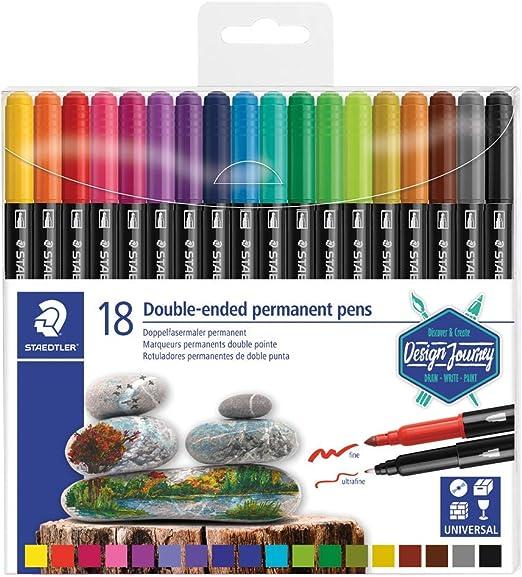 STAEDTLER Design Journey 3187 TB18, Rotuladores Permanentes de Doble Punta, Caja con 18 Marcadores de Colores Variados: Amazon.es: Hogar