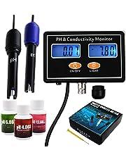 pH/EC Conductivity Meter with ATC Water Quality Tester 0.0-14.0pH / 0~19.99ms/cm Aquarium, Hydroponics Tool