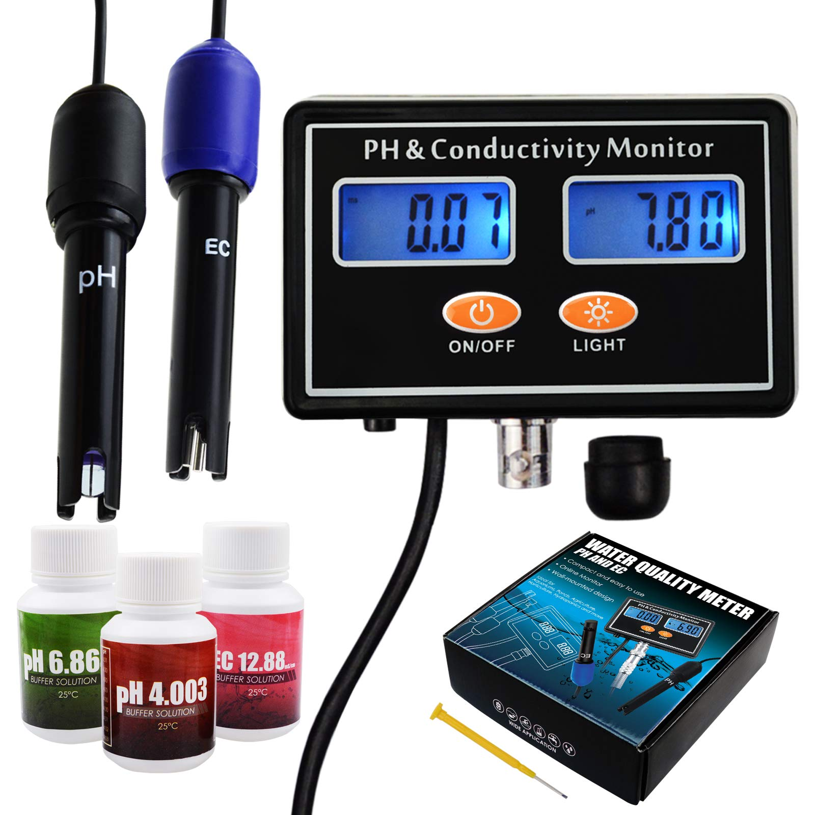 pH/EC Conductivity Meter with ATC Water Quality Tester 0.0-14.0pH / 0~19.99ms/cm Aquarium, Hydroponics Tool by DANOPLUS