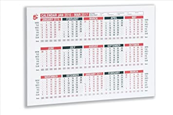 5 Star 2016 Wall or Desk Calendar Double-sided Contract Week Numbers 15  Months W297xH210mm A4