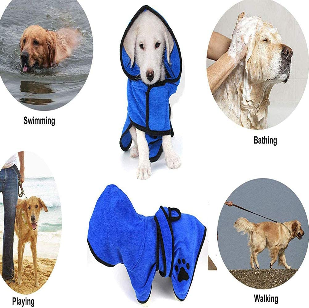 YunNasi Dog Bath Towel Dog Bathrobe Towel with Adjustable Strap Hood Microfibre Fast Drying Super Absorbent Pet Dog Cat Bath Robe Towel for Drying Coats S, Blue