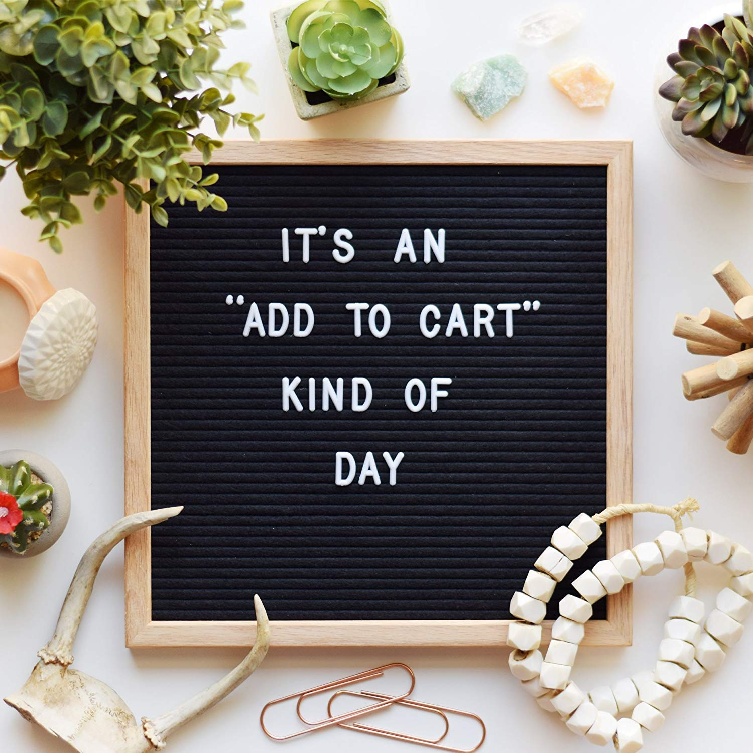 Changeable Letter Board (10'' x 10'') with 435 Changeable Letters (Letters, Numbers, Symbols) & 45 Emoji | This Wooden Felt Board Has a Kick Stand and Wall Mount - Perfect for Present Or Celebration