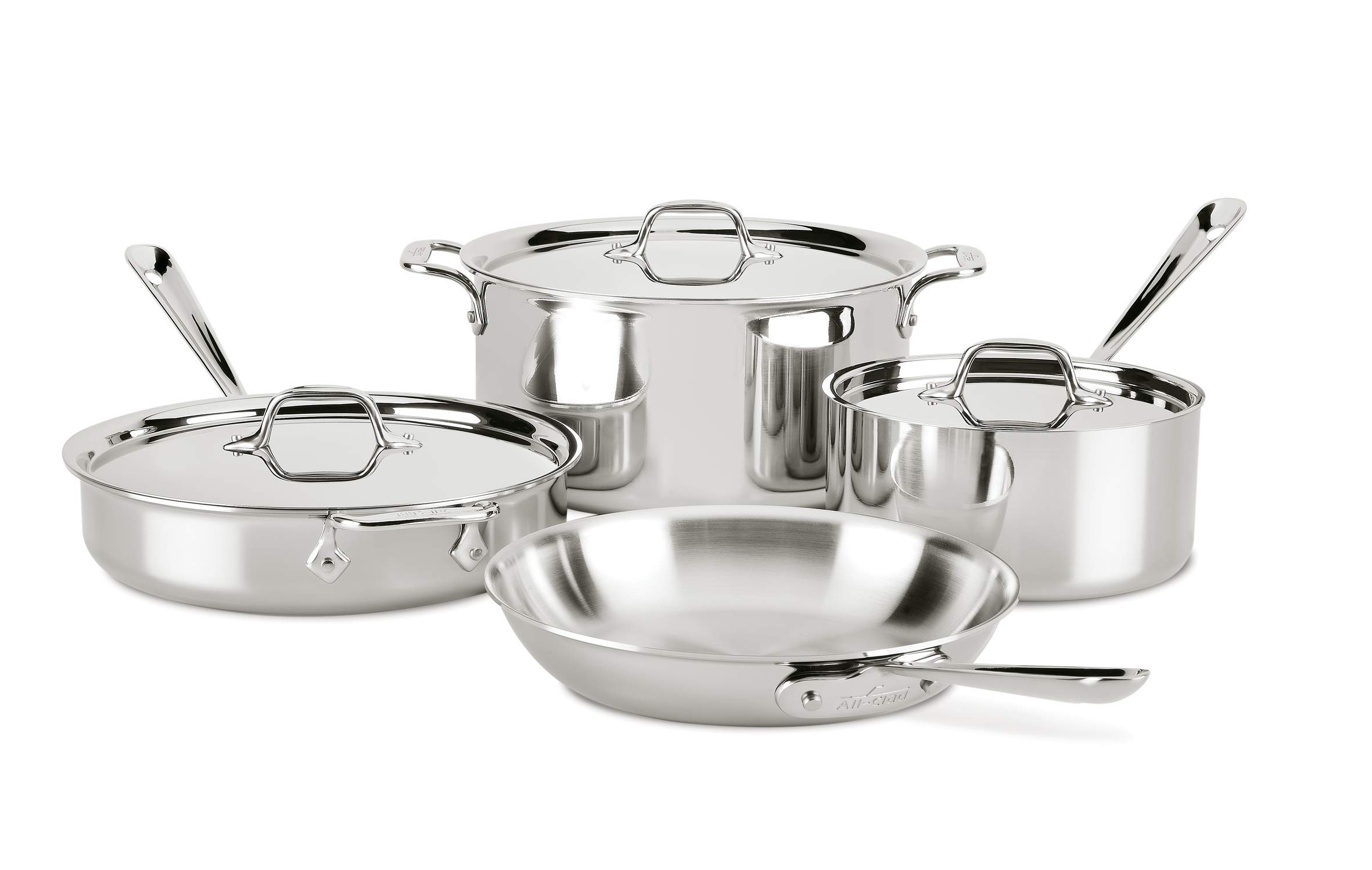 All-Clad D3 7-Piece Stainless Steel Dishwasher Safe Induction Compatible Cookware Set, Tri-Ply Bonded, Silver