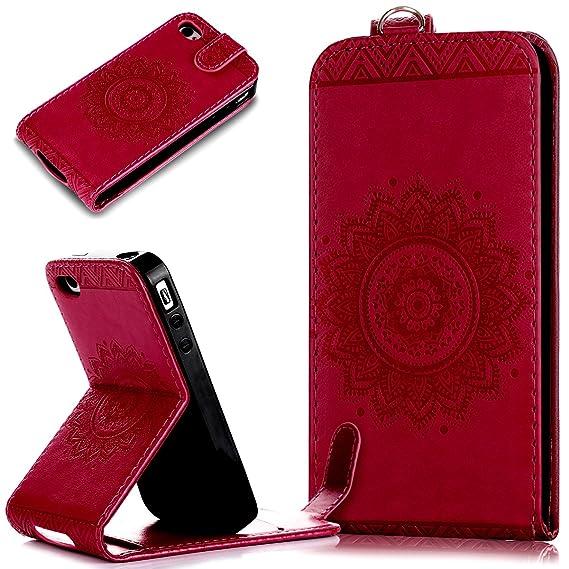 Kompatibel mit iPhone 4S/4 Hülle,Leder Hülle für iPhone 4S 4,Prägung Floral Spitze Blumen Mandala Muster PU Lederhülle Flip H