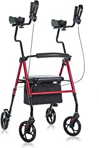 BEYOUR WALKER Tall Upright Walker with Padded Armrest and Seat, Large Under-seat Basket for Seniors, Red