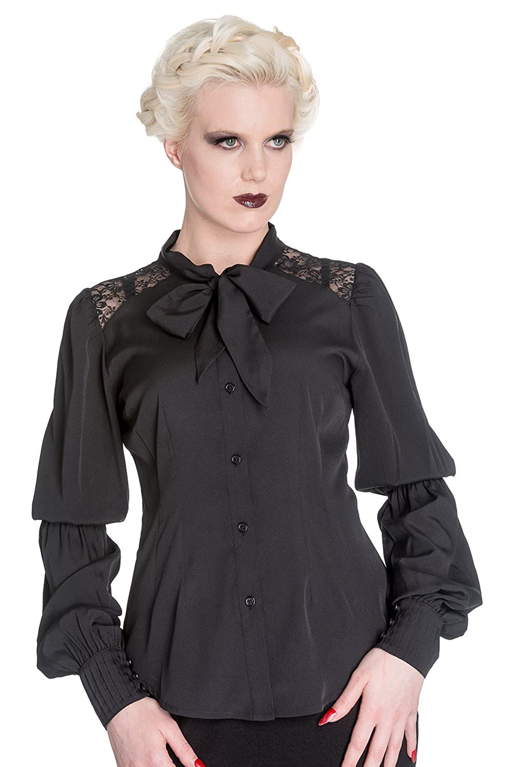Vintage Retro Halloween Themed Clothing Spin Doctor Black Chiffon Gothic Romance Bishop Long Sleeve Blouse $49.95 AT vintagedancer.com