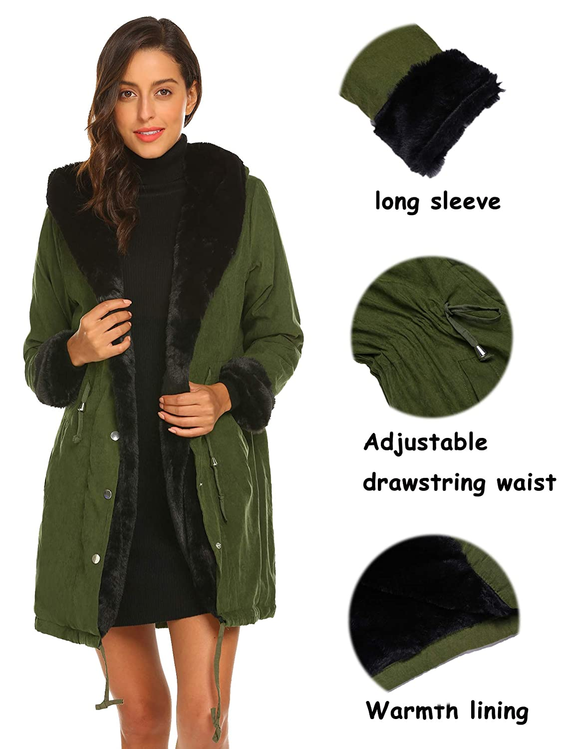 Shine Womens Parka Jacket Hooded Winter Coats Faux Fur Coat Outdoor Army Green Blue Black