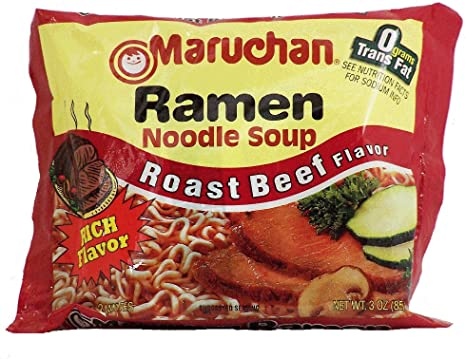 Maruchan - Sopa de fideos ramen de ramen de carne asada 3 oz (paquete de 12)