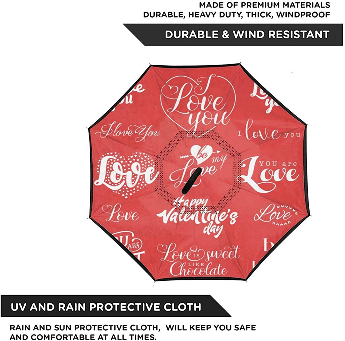 Valentines Day Typography Design Elements Reverse Umbrella Double Layer Inverted Umbrellas For Car Rain Outdoor With C-Shaped Handle Personalized
