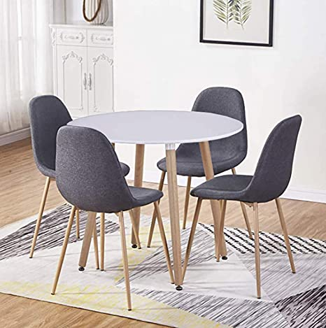 Goldfan Round Dining Table And Chairs Set Of 4 High Gloss Kitchen Table 4 Dining Pu Leather Chairs 90 Cm White Grey 4 Amazon De Kuche Haushalt
